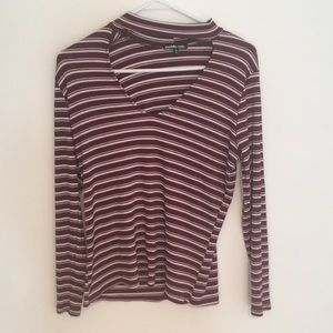 Long Sleeve Maroon/White Collared Shirt size 1x